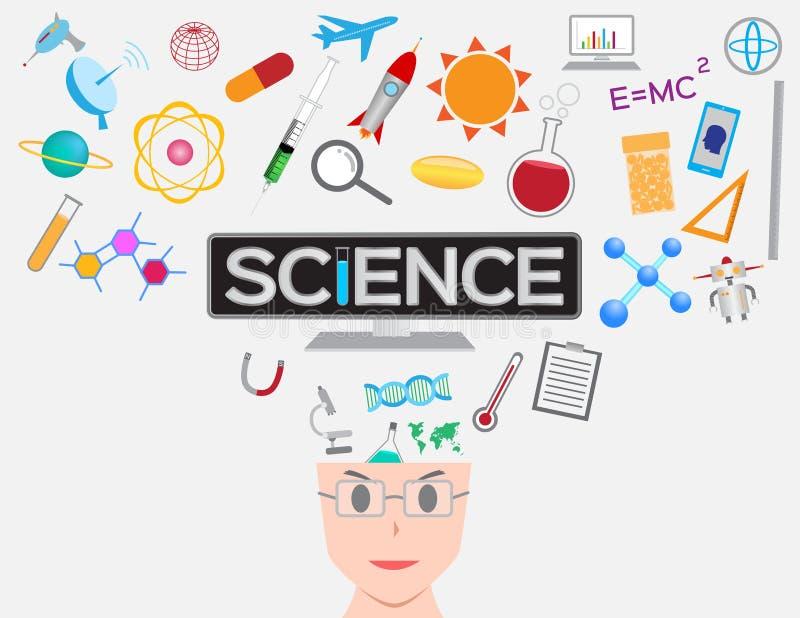 学会科学的人们直接地对脑子 库存例证