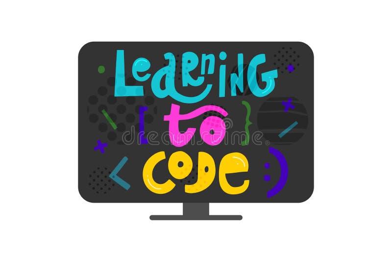 学会编码-在显示器的五颜六色的手拉的字法与元素 编码设计观念的孩子在平的样式 向量例证