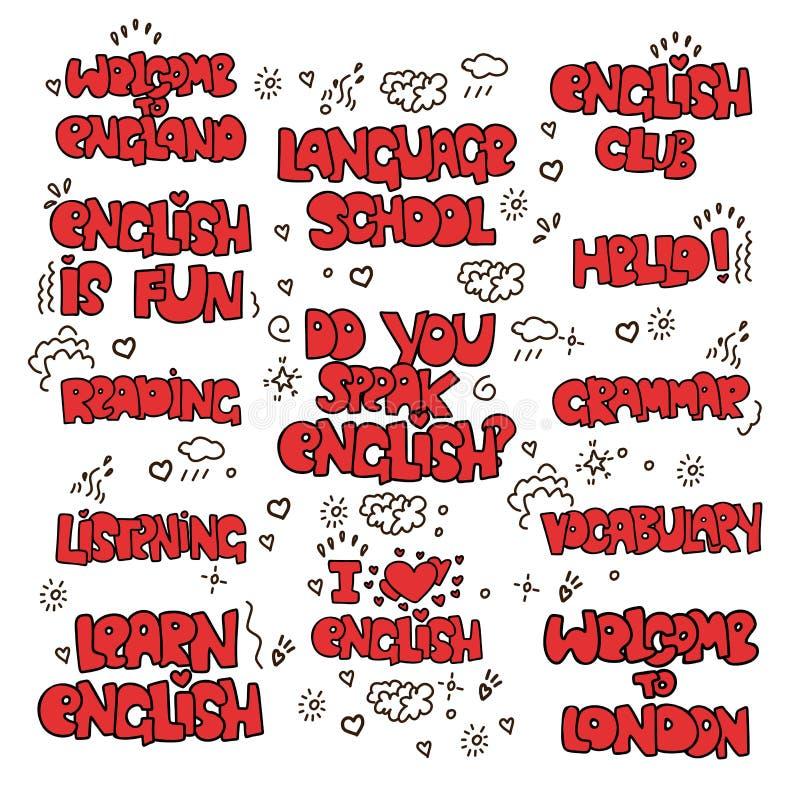 学会英国教育字法-色的词组和词 语言学院字法-词组和表示 向量例证