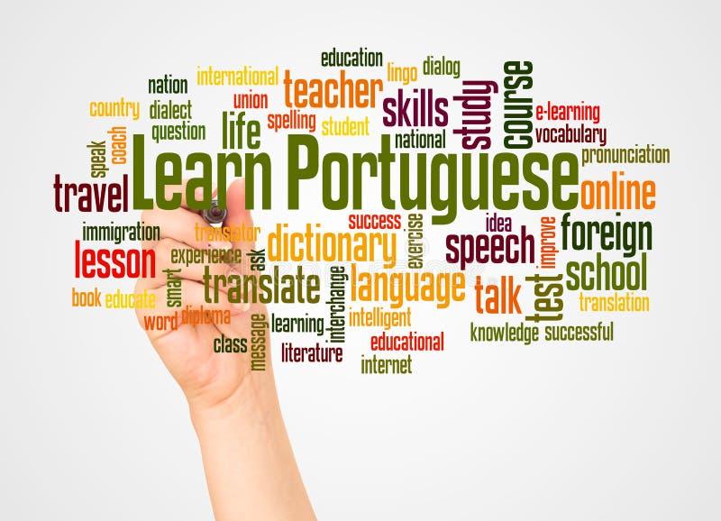 学会葡萄牙词云彩和手有标志概念的 库存照片