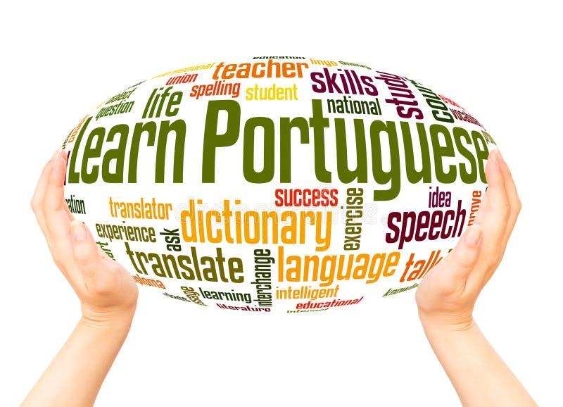 学会葡萄牙词云彩手球形概念 库存图片
