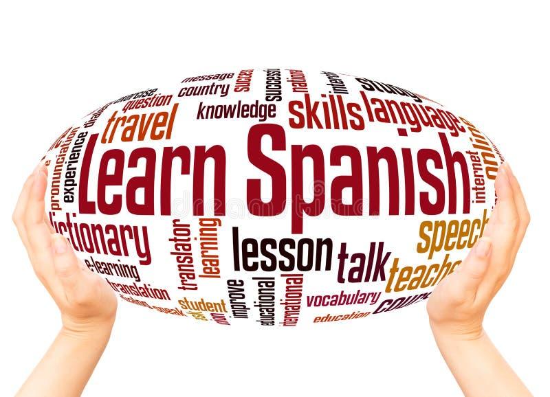 学会西班牙词云彩手球形概念 库存图片