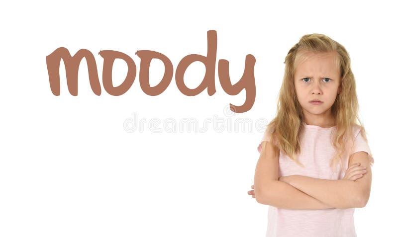 学会词汇量与词喜怒无常和甜年轻女小学生的英语学校卡片 库存照片