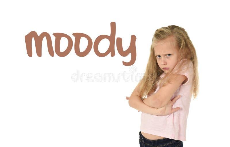 学会词汇量与词喜怒无常和甜年轻女小学生的英语学校卡片 图库摄影
