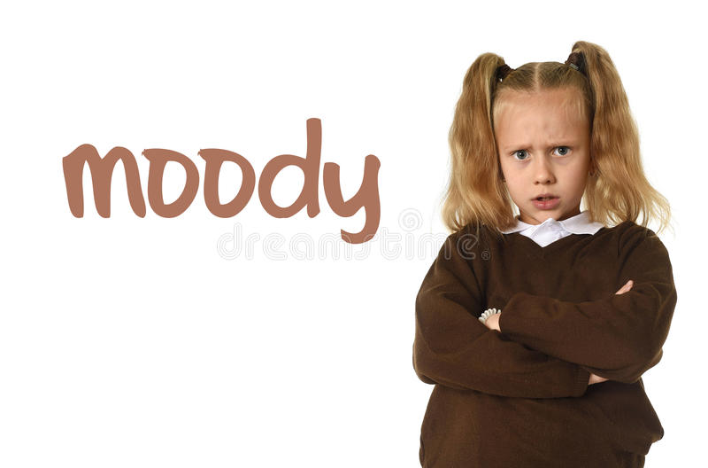 学会词汇量与词喜怒无常和甜年轻女小学生的英语学校卡片 免版税库存图片