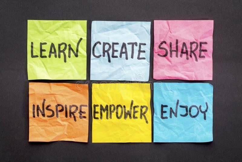 学会,创造,分享,并且启发 库存图片