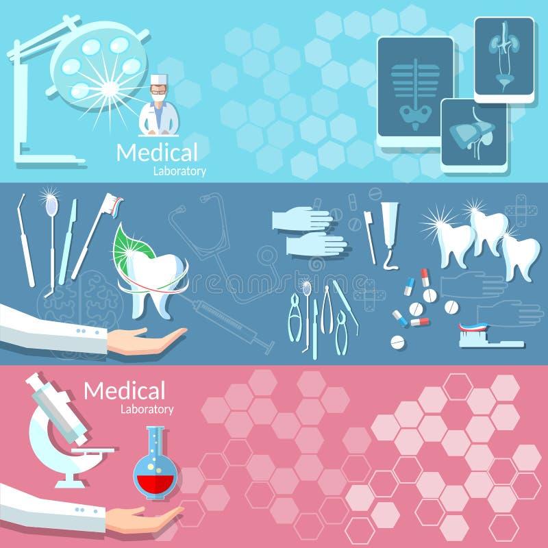 医学健康牙科医疗仪器横幅 库存例证