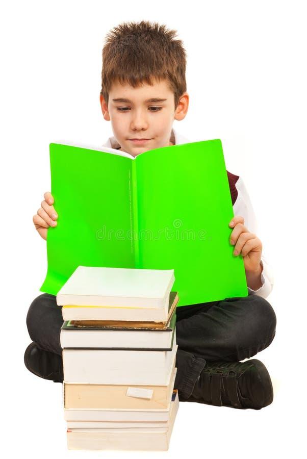 学员男孩读取 免版税库存图片
