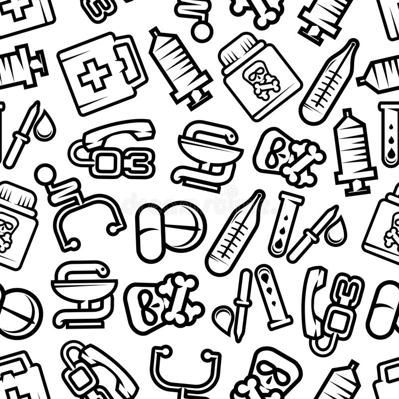 医学和医疗保健无缝的样式 向量例证