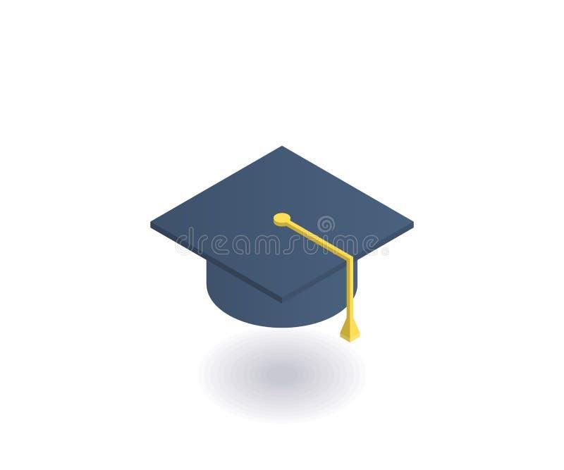 学术帽子,毕业盖帽等量象 网络设计的传染媒介3D例证 库存例证