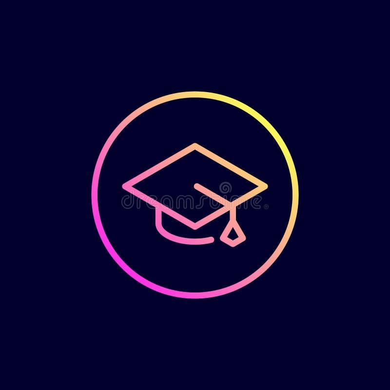 学术帽子,毕业盖帽象 在平的线型的传染媒介例证 向量例证