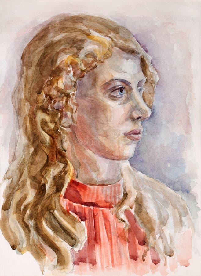 学术艺术作者图画女孩我纵向水彩 免版税库存图片