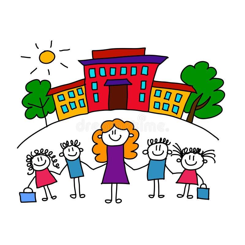 学校、孩子和老师 皇族释放例证
