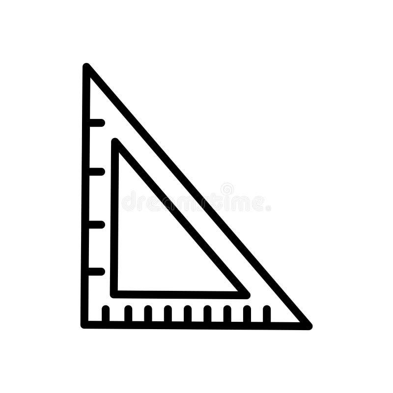 学校三角在白色背景、学校三角标志、线性标志和冲程设计元素隔绝的象传染媒介  库存例证