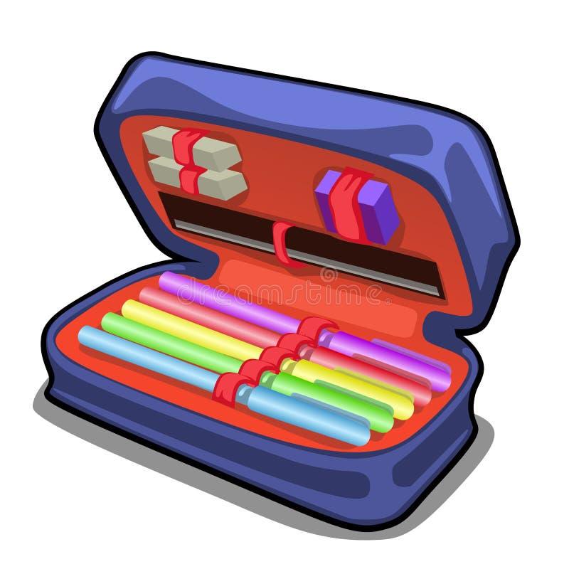 学校与在白色背景隔绝的文具集合的笔匣 传染媒介动画片特写镜头例证 库存例证
