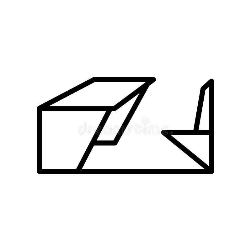学校书桌在白色背景、学校书桌标志、线性标志和冲程设计元素隔绝的象传染媒介在概述样式 库存例证