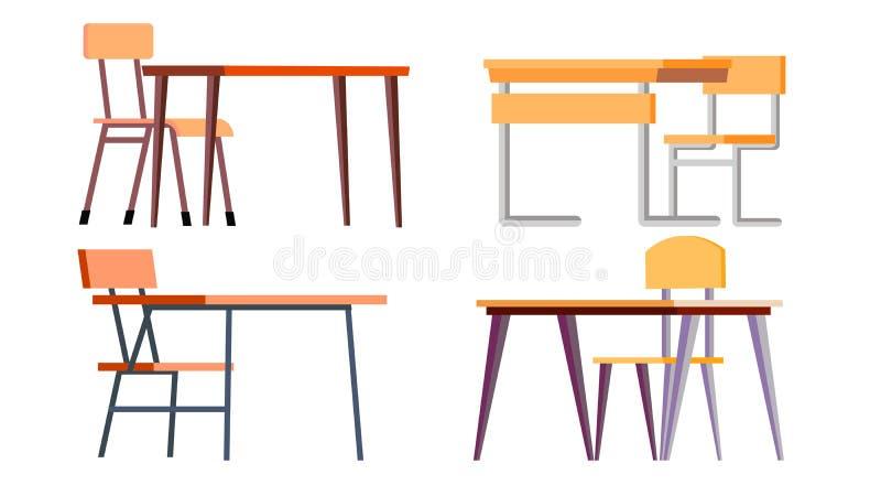 学校书桌集合传染媒介 粗纸板,奇尔 经典空的木和金属家具 被隔绝的动画片例证 皇族释放例证