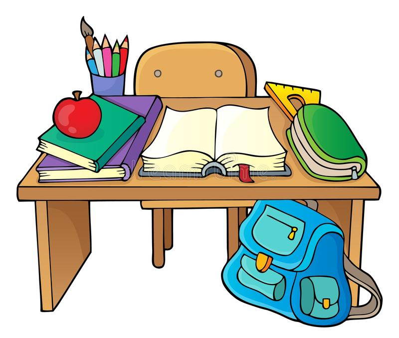 学校书桌题材图象1 皇族释放例证