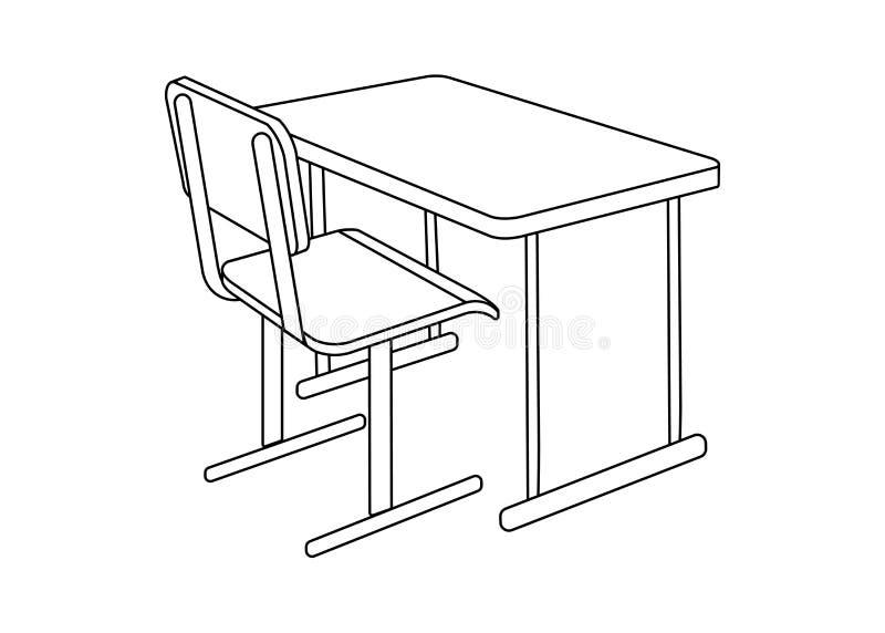 学校书桌 学校用品象和商标 被隔绝的设计elem 库存例证