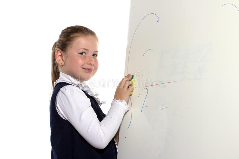 学校从董事会的女孩清除 库存图片