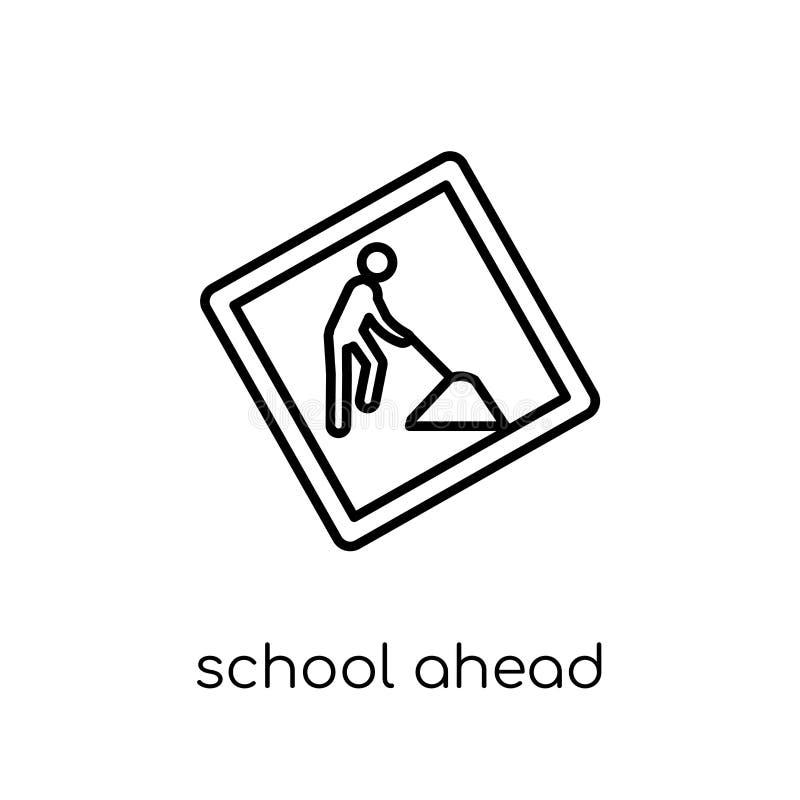 学校前面标志象 时髦现代平的线性传染媒介学校 向量例证