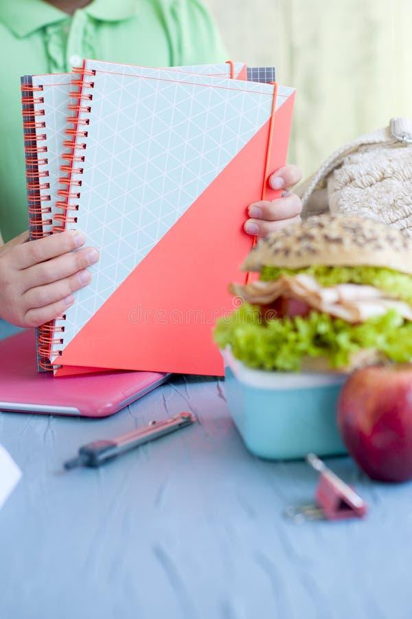 学校午餐和学校笔记本在女小学生的手上 安置文本 去学校 库存照片