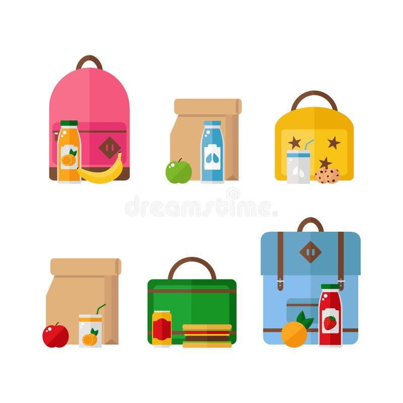 学校午餐在白色背景隔绝的箱子和背包象 图库摄影
