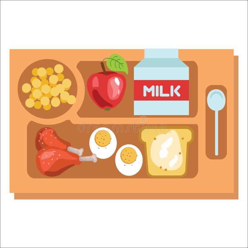 学校午餐盘子,儿童晚餐包括鸡蛋挤奶和苹果传染媒介例证的小鸡腿 向量例证