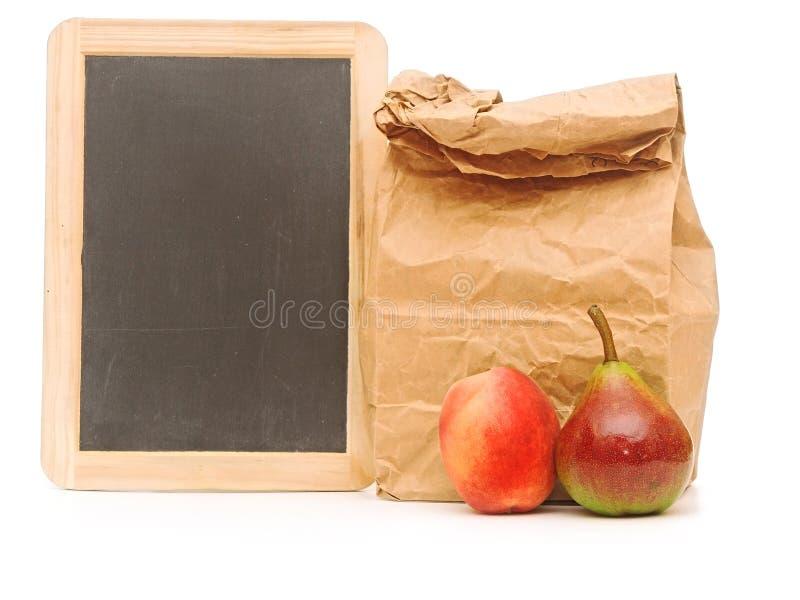 学校午餐袋子 库存照片