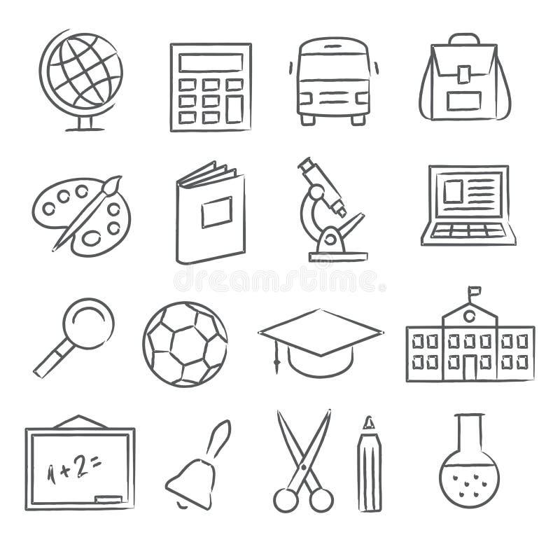 学校和教育图标 皇族释放例证