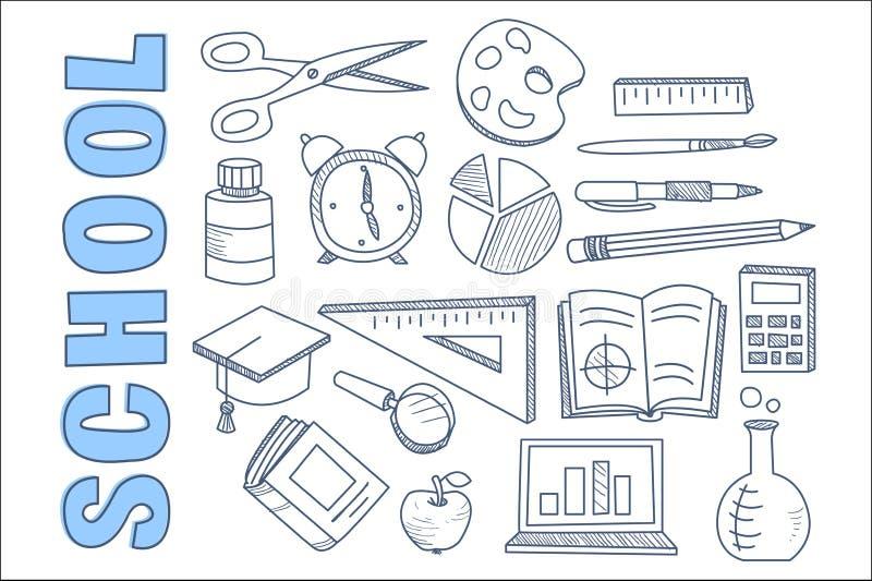 学校固定式设备集合,回到学校象手拉的传染媒介例证 库存例证