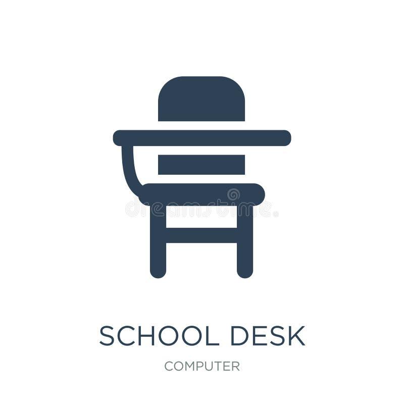 学校在时髦设计样式的书桌象 学校在白色背景隔绝的书桌象 学校书桌现代传染媒介的象简单和 向量例证