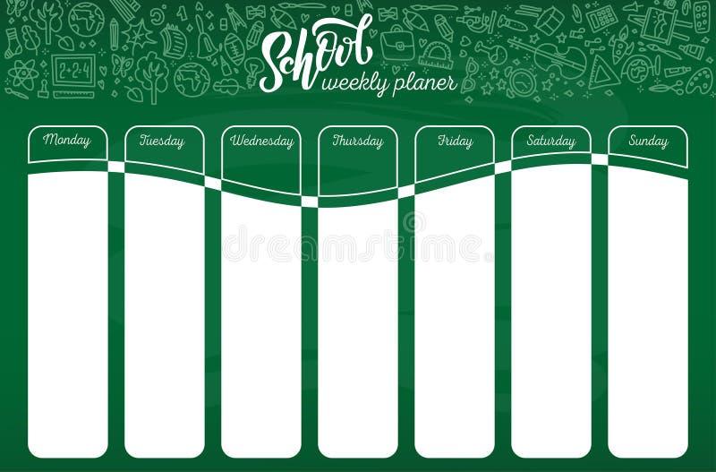 学校在粉笔板的时间表模板有手书面白色白垩字法文本的 每周教训在概略样式预定 库存例证