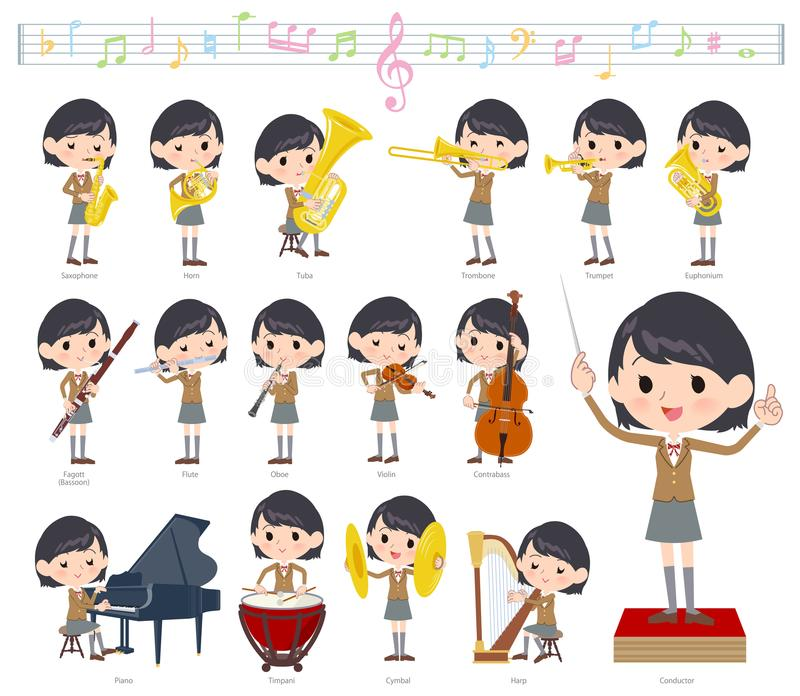 学校女孩布朗Blazer_classic音乐 库存例证