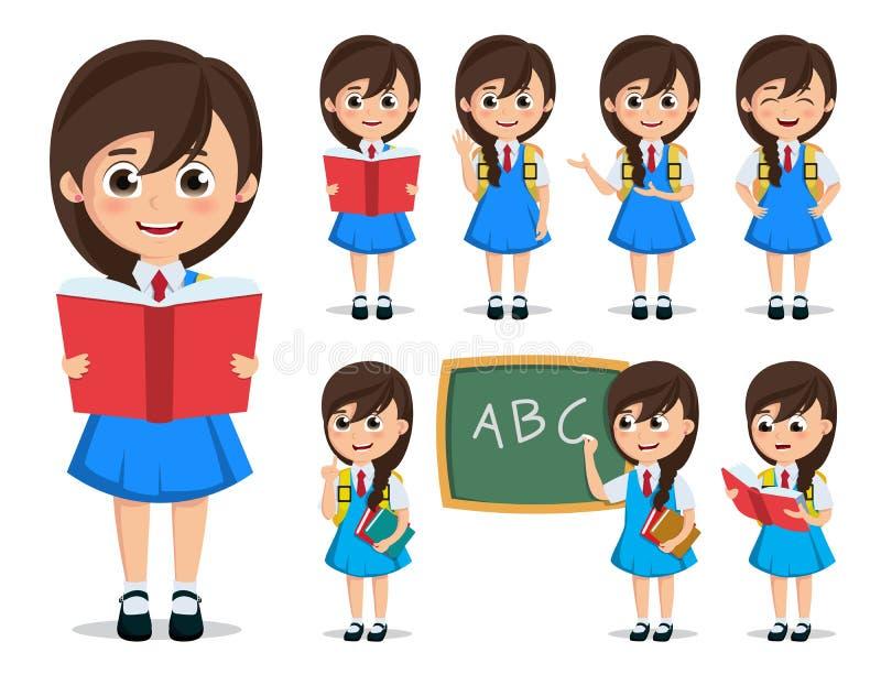 学校女生传染媒介字符集 回到学校孩子卡通人物佩带的制服 皇族释放例证