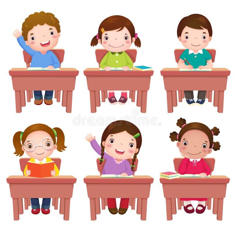 学校孩子坐桌 向量例证