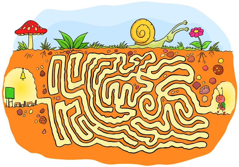 去学校孩子的迷宫比赛的蚂蚁 皇族释放例证