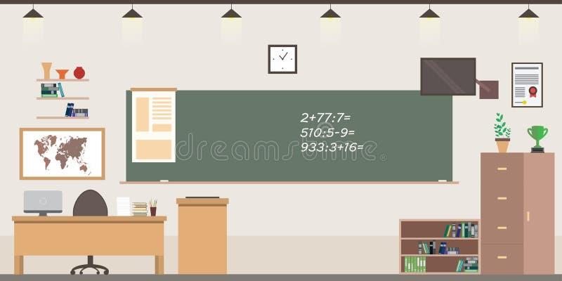 学校室内部,有家具的教室 皇族释放例证