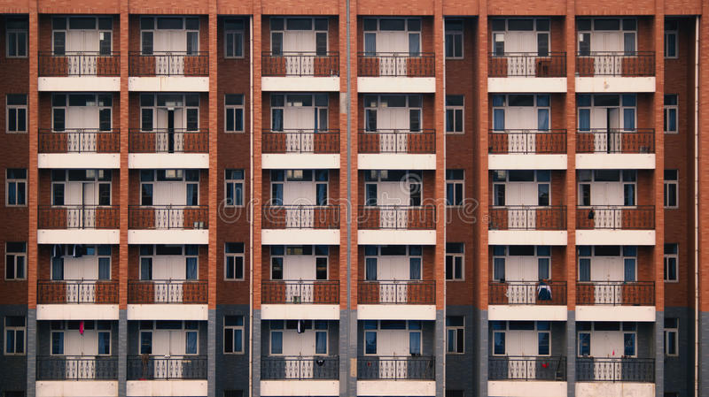 学校宿舍阳台窗口大厦 免版税库存图片