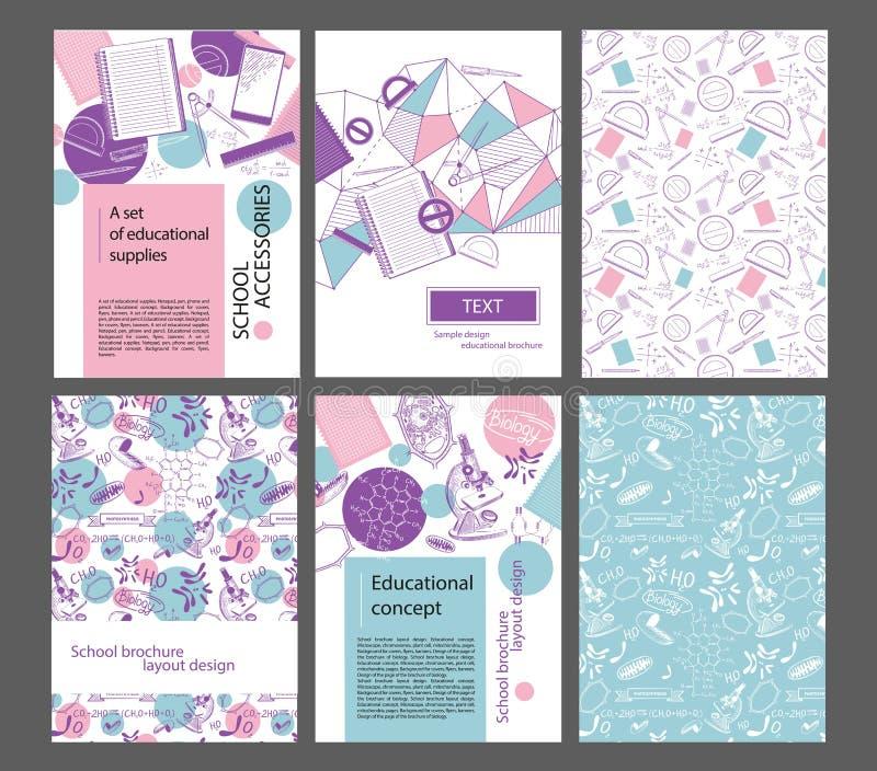 学校小册子的设计版面 页,分度器,笔,三角函数显微镜,线粒体 ?  库存例证
