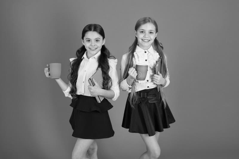 学校惯例 安排断裂放松 饮用的茶一会儿断裂 放松与饮料的学校伙伴 喜欢是学生 ?? 库存照片