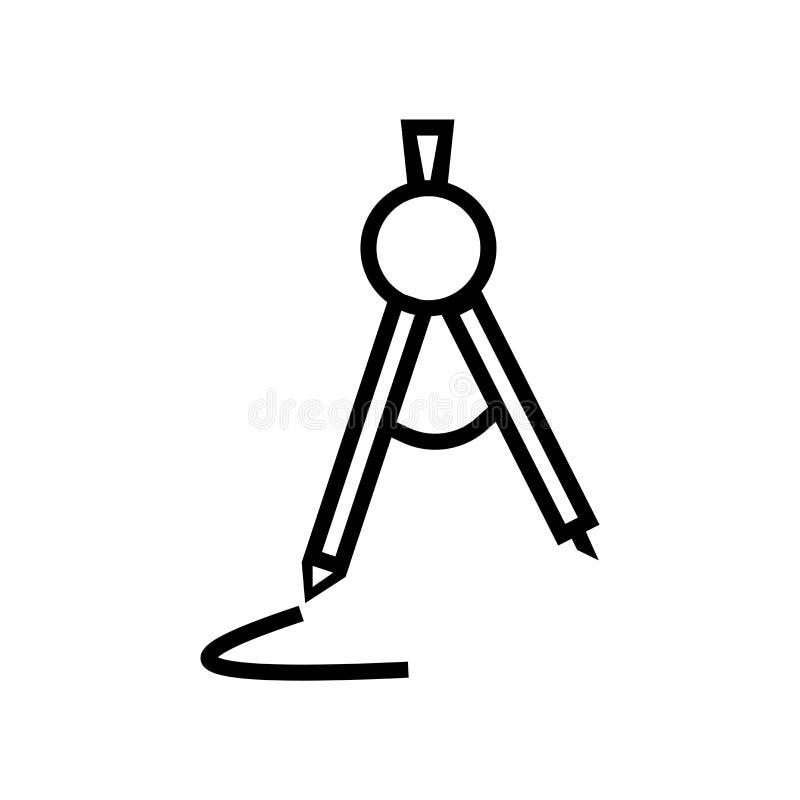 学校指南针在白色背景、学校指南针标志、线性标志和冲程设计元素隔绝的象传染媒介在概述 向量例证