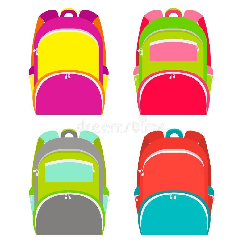 学校挑运在白色隔绝的收藏 在4个不同版本的学校背包 也corel凹道例证向量 向量例证