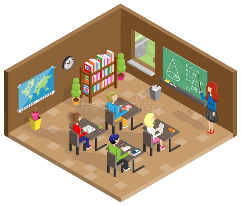 学校教室等量设计传染媒介 向量例证