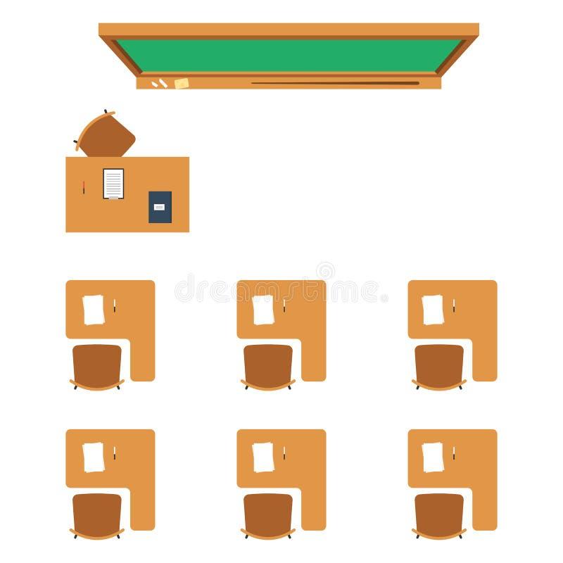学校教室顶视图 库存例证