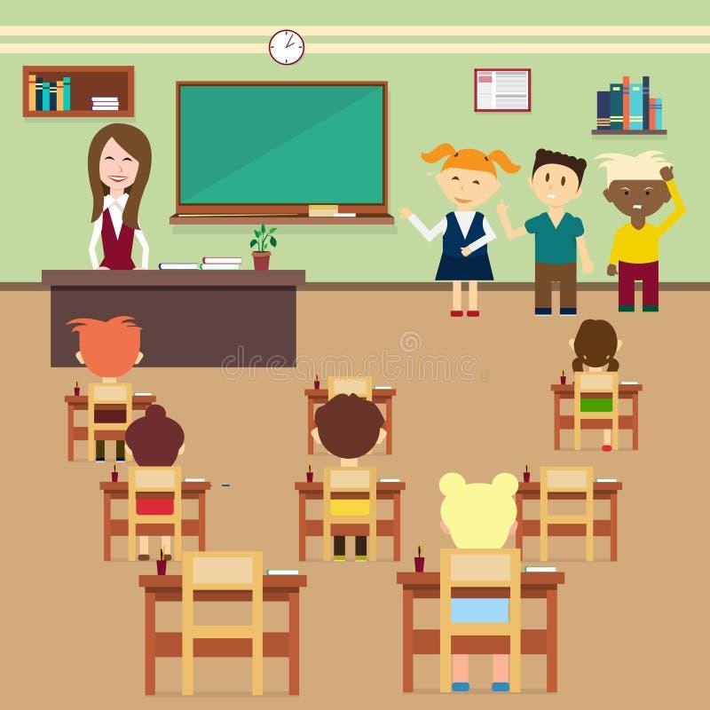 学校教训学生和老师教室内部的 皇族释放例证