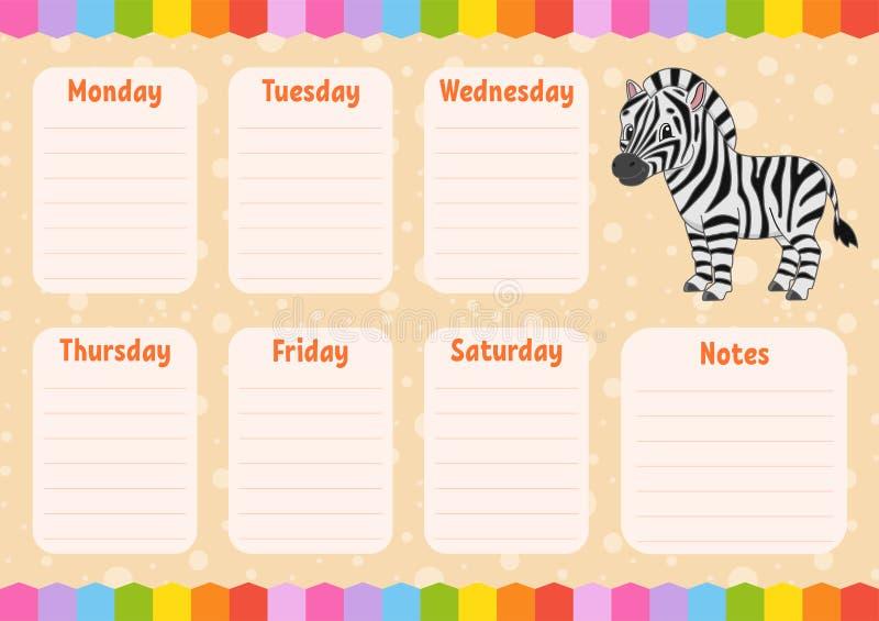 学校日程表 孩子的时间表 r 有笔记的每周整平机 被隔绝的颜色传染媒介例证 t 库存例证