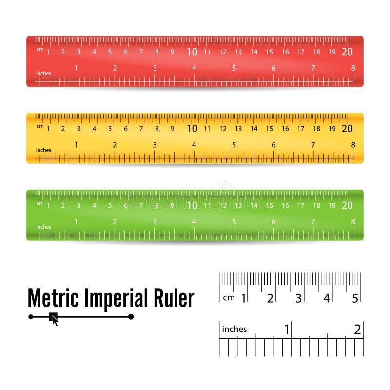 学校测量的统治者传染媒介 措施工具 毫米、厘米和英寸标度 按钮查出的现有量例证推进s启动妇女 向量例证