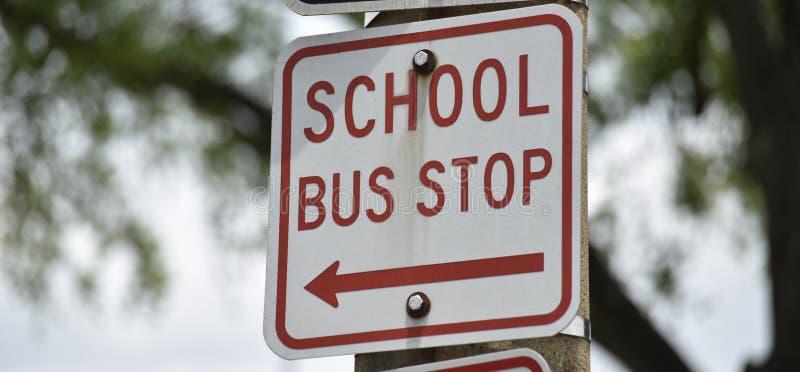 学校班车公共汽车站 库存照片