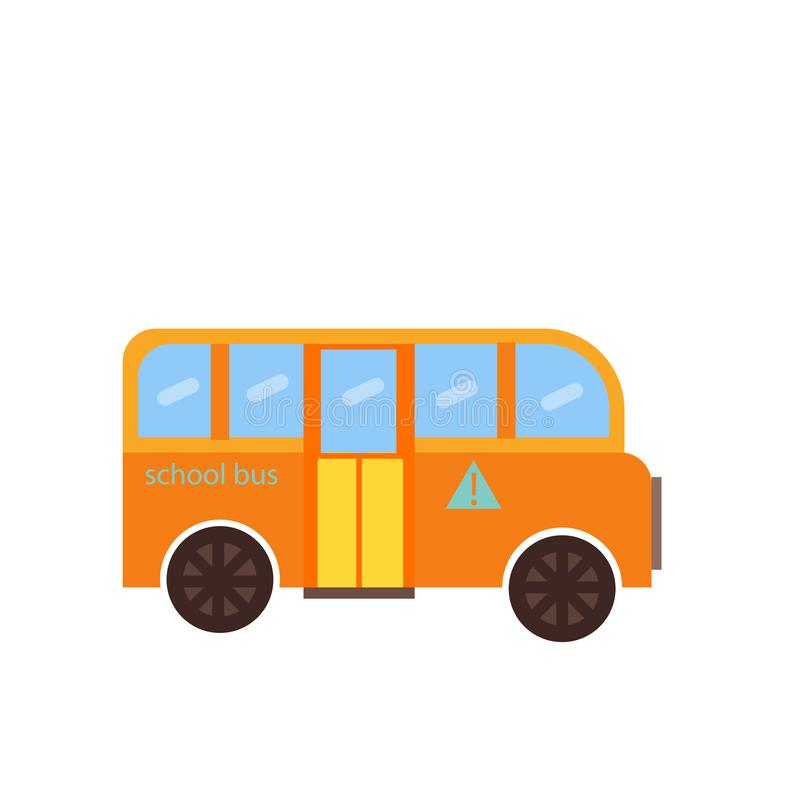 学校班车象在白色背景和标志隔绝的传染媒介标志,学校班车商标概念 库存例证